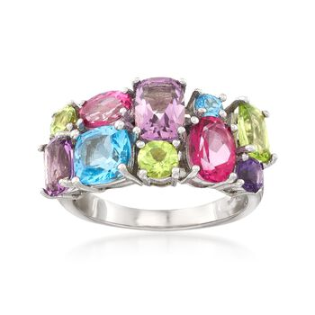 5.40 ct. t.w. Multi-Stone Cluster Ring in Sterling Silver, , default