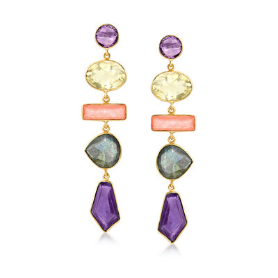29.00 ct. t.w. Multi-Gemstone Drop Earrings in 18kt Gold Over Sterling, , default