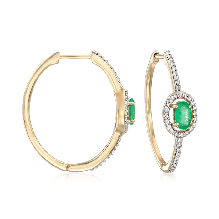 .90 ct. t.w. Emerald and .34 ct. t.w. Diamond Hoop Earrings in 14kt Yellow Gold