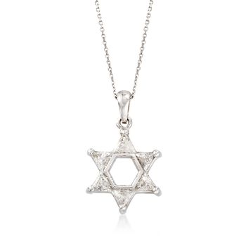 """C. 1990 Vintage .75 ct. t.w. Diamond Star of David Pendant Necklace in 14kt White Gold. 16"""", , default"""
