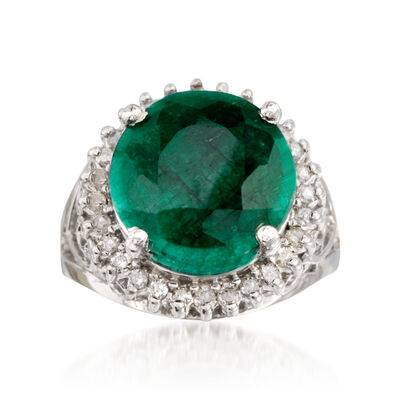 6.50 Carat Emerald and .40 ct. t.w. Diamond Ring in Sterling Silver