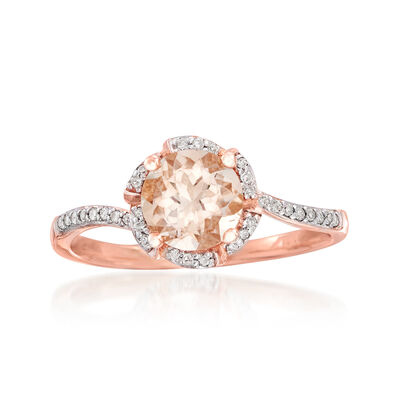 1.10 Carat Morganite and .10 ct. t.w. Diamond Ring in 14kt Rose Gold, , default