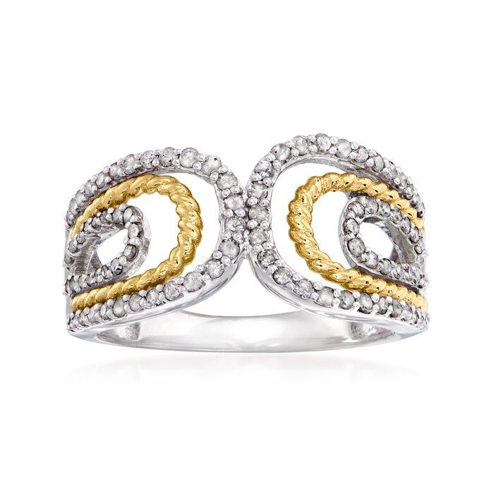 .50 ct. t.w. Diamond Bypass Ring in Sterling Silver with 14kt Yellow Gold