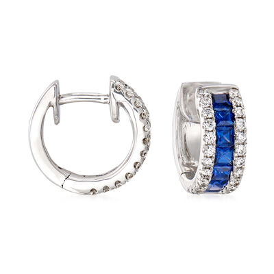 .70 ct. t.w. Sapphire and .33 ct. t.w. Diamond Huggie Hoop Earrings in 18kt White Gold, , default