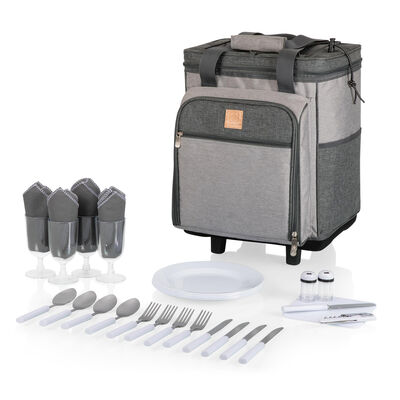 Heathered Gray Rolling Picnic Cooler