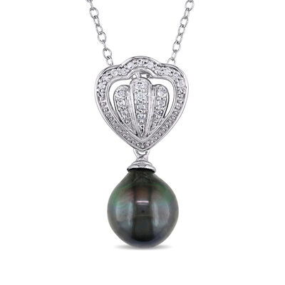 8.5-9mm Black Cultured Tahitian Pearl and .12 ct. t.w. Diamond Pendant Necklace in Sterling Silver, , default