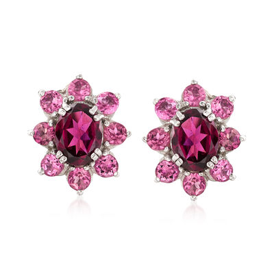 2.50 ct. t.w. Rhodolite Garnet and 1.70 ct. t.w. Pink Tourmaline Halo Earrings in Sterling Silver, , default
