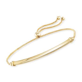 14kt Yellow Gold Bar Bolo Bracelet, , default