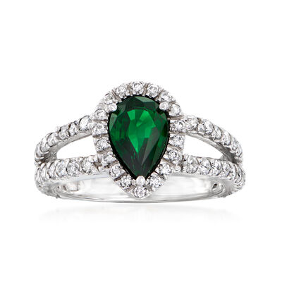 C. 1990 Vintage 1.30 Carat Tsavorite and 1.00 ct. t.w. Diamond Ring in 14kt White Gold
