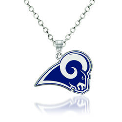 "Sterling Silver NFL Los Angeles Rams Enamel Pendant Necklace. 18"", , default"