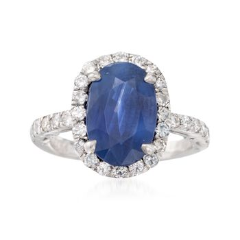 C. 1980 Vintage 3.30 Carat Sapphire and .75 ct. t.w. Diamond Ring in Platinum. Size 6, , default