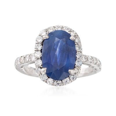 C. 1980 Vintage 3.30 Carat Sapphire and .75 ct. t.w. Diamond Ring in Platinum, , default