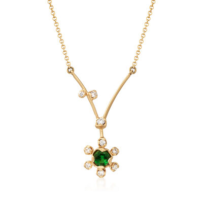 Simon G. .20 Carat Tsavorite and .11 ct. t.w. Diamond Floral Necklace in 18kt Yellow Gold, , default