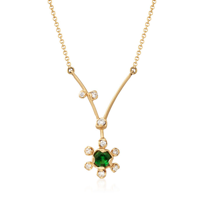 .20 Carat Tsavorite and .11 ct. t.w. Diamond Floral V-Necklace in 18kt Yellow Gold