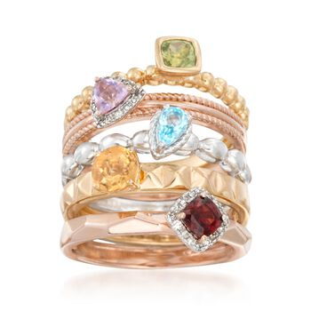 1.43 ct. t.w. Multi-Stone Jewelry Set: Five Rings in Tri-Colored Sterling Silver, , default