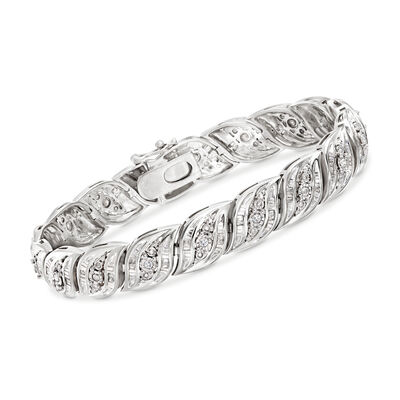 1.00 ct. t.w. Diamond Bracelet in Sterling Silver, , default