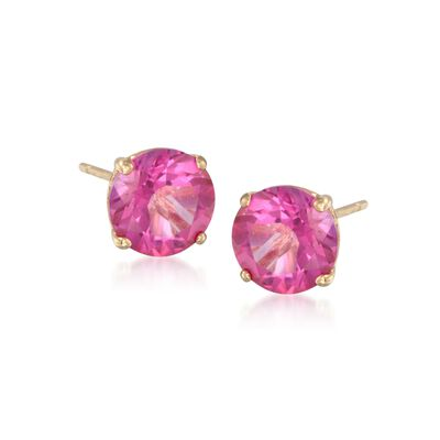 1.90 ct. t.w. Pink Topaz Stud Earrings in 14kt Yellow Gold, , default
