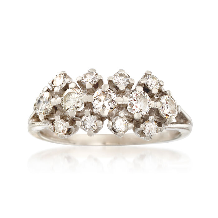 C. 1980 Vintage .80 ct. t.w. Diamond Three-Row Ring in 14kt White Gold. Size 5.25, , default