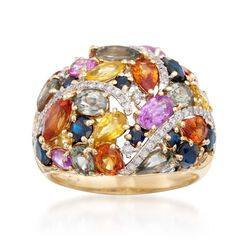 7.20 ct. t.w. Multicolored Sapphire and .26 ct. t.w. Diamond Ring in 14kt Yellow Gold, , default