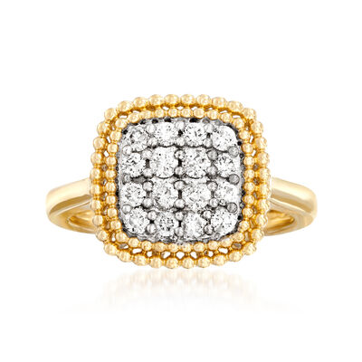 .50 ct. t.w. Diamond Beaded Ring in 14kt Yellow Gold