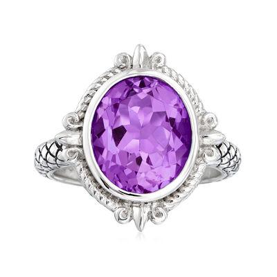 "Andrea Candela ""Fleur De Lis"" 4.31 Carat Amethyst Ring in Sterling Silver, , default"