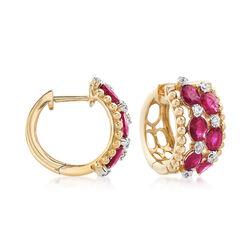 2.00 ct. t.w. Ruby and .16 ct. t.w. Diamond Huggie Hoop Earrings in 14kt Yellow Gold. Earrings, , default