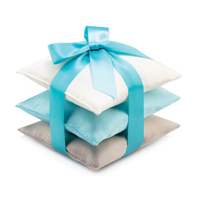 Set of 3 Turquoise Silk Sachet Pillows, , default
