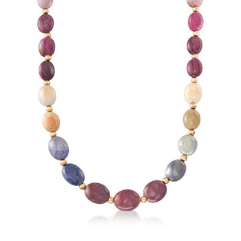 270.00 ct. t.w. Multicolored Sapphire Bead Necklace in 14kt Yellow Gold