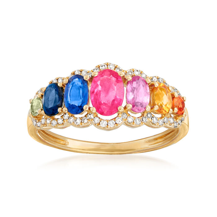1.61 ct. t.w. Multicolored Sapphire and .19 ct. t.w. Diamond Ring in 14kt Yellow Gold