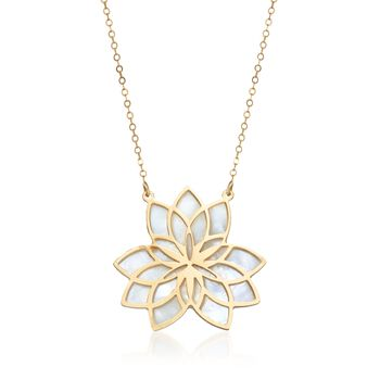 "Italian 23mm Mother-Of-Pearl Lotus Necklace in 14kt Yellow Gold. 18"", , default"