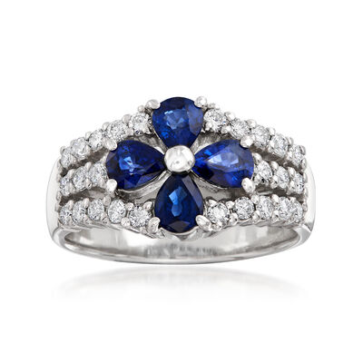 C. 2000 Vintage 1.33 ct. t.w. Sapphire and .47 ct. t.w. Diamond Flower Ring in Platinum, , default