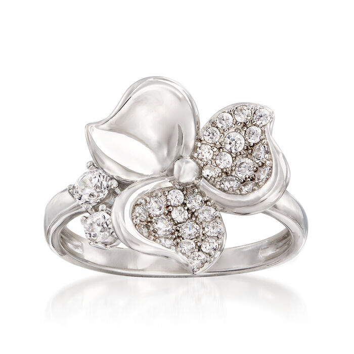 .45 ct. t.w. CZ Flower Ring in Sterling Silver, , default