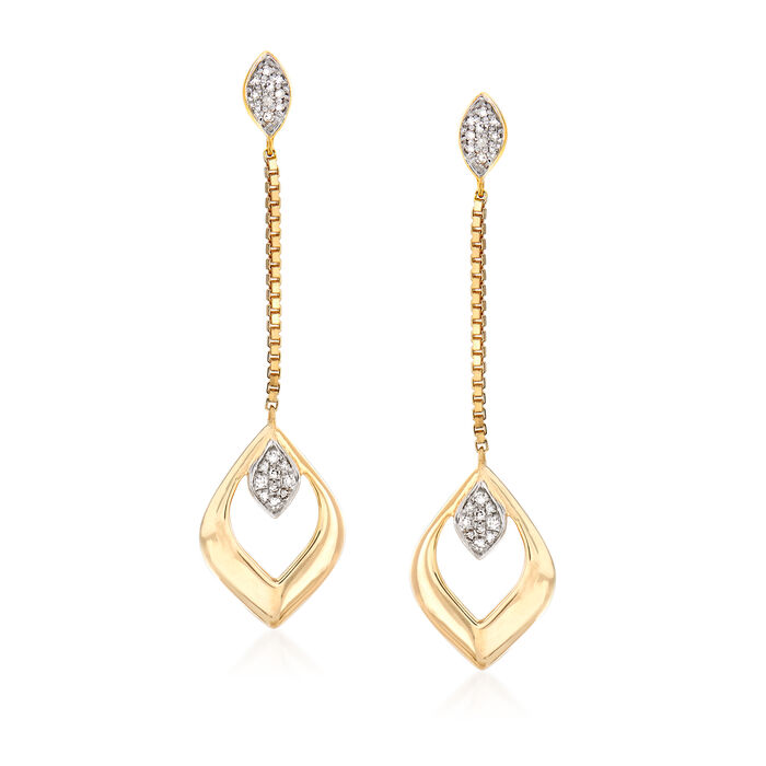 14kt Yellow Gold Open-Space Marquise Drop Earrings with Diamond Accents, , default