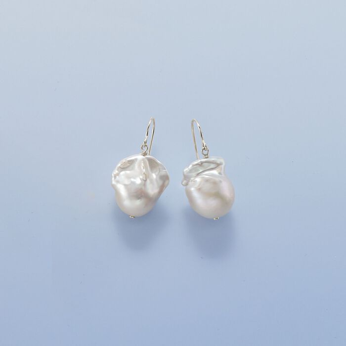 12-13mm Cultured Baroque Pearl Drop Earrings in Sterling Silver