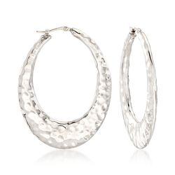 Sterling Silver Hammered Oval Hoop Earrings, , default