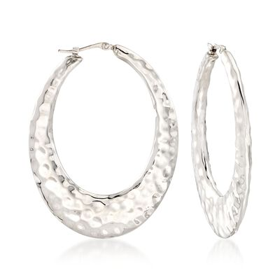 Sterling Silver Hammered Oval Hoop Earrings, , default