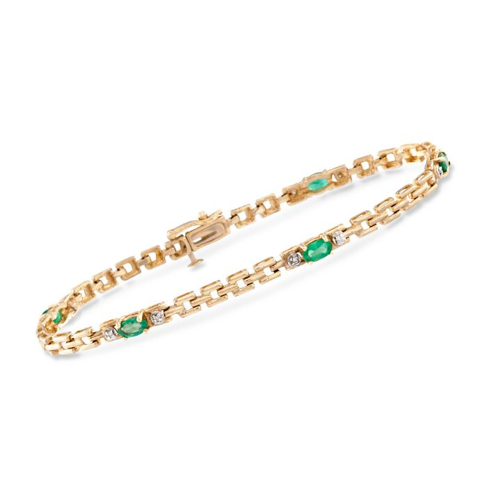 1.50 ct. t.w. Emerald Link Bracelet with .10 ct. t.w. Diamonds in 14kt Yellow Gold. 8""