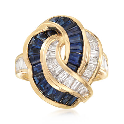 C. 1980 Vintage 1.88 ct. t.w. Sapphire and 1.69 ct. t.w. Diamond Ring in 18kt Yellow Gold, , default