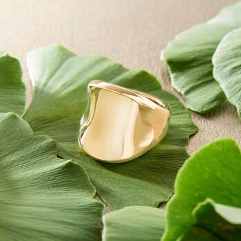 Italian Andiamo 14kt Yellow Gold Wide Polished Ring. Size 5, , default