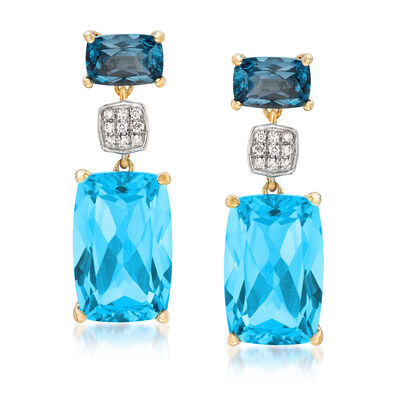 10.55 ct. t.w. Blue Topaz Drop Earrings with Diamond and Rhodium Accents in 14kt Yellow Gold, , default
