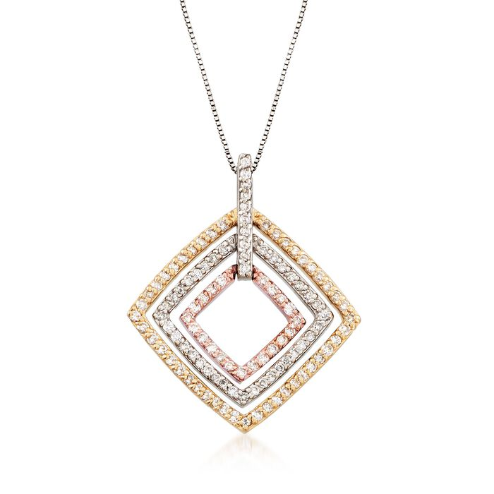 """C. 1990 Vintage 1.35 ct. t.w. Diamond Open-Space Square Pendant Necklace in 14kt Tri-Colored Gold. 17.25"""""""