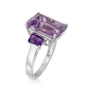 9.00 ct. t.w. Emerald-Cut Amethyst Ring in Sterling Silver, , default