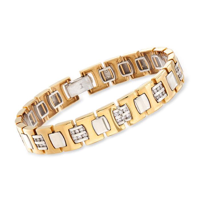 "C. 1980 Vintage 1.65 ct. t.w. Diamond Link Bracelet in 14kt Yellow Gold. 7.75"", , default"
