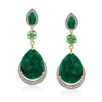 22.10 ct. t.w. Emerald and .20 ct. t.w. White Topaz Drop Earrings in 14kt Gold Over Sterling