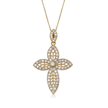 .63 ct. t.w. Diamond Marquise-Shaped Cross Pendant Necklace in 14kt Yellow Gold