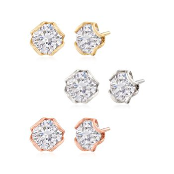 12.00 ct. t.w. CZ Jewelry Set: Three Pairs of Stud Earrings in Tri-Colored Sterling Silver