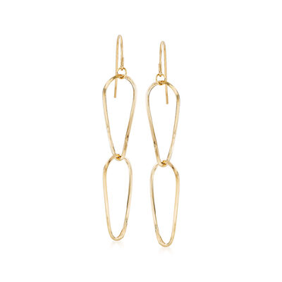Italian 18kt Yellow Gold Double Pear-Shape Drop Earrings, , default