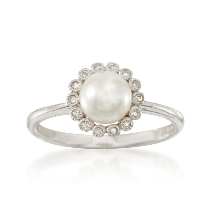 6.5mm Cultured Pearl Ring with Diamonds in 14kt White Gold