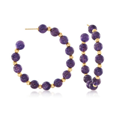 40.00 ct. t.w. Amethyst Bead J-Hoop Earrings in 14kt Yellow Gold