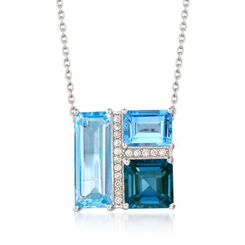 """10.40 ct. t.w. Tonal Blue Topaz and .20 ct. t.w. White Zircon Geometric Pendant Necklace in Sterling Silver. 20"""", , default"""